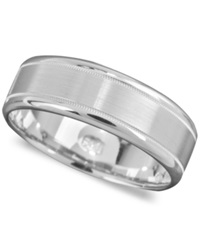 Macy's Men's 14K White Gold Ring Engraved 7Mm Band Size 6 13