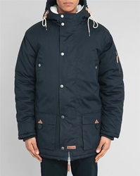 Knowledge Cotton Apparel Navy Fur Trimmed Hood Parka