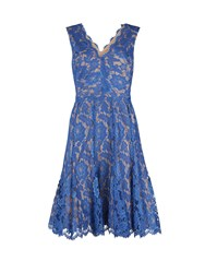 Gina Bacconi Scallop Flower Lace Dress With V Neck Navy