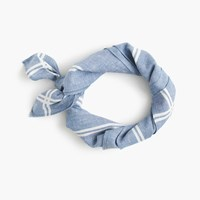 J.Crew Chambray Bandana With Striped Border Chambray Ivory