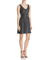 Aqua Shine V Neck Dress Black Silver
