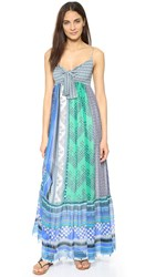 Diane Von Furstenberg Dvf Malina Patchwork Maxi Dress Square Stamps Green Combo
