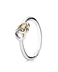 Pandora Design Pandora Ring Sterling Silver And 14K Gold Heart To Heart Silver Gold