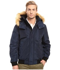 Marc New York Knox Memory Shell Down Bomber With Faux Fur Trimmed Removable Hood Ink Men's Coat Navy