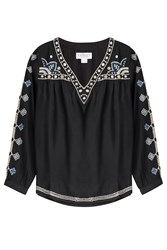 Velvet Embroidered Tunic Top Black