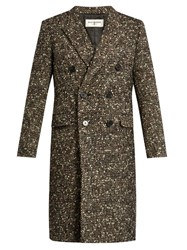 Saint Laurent Peak Lapel Wool Blend Tweed Coat Multi