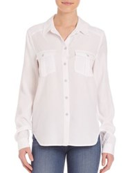 Paige Mya Button Front Shirt White