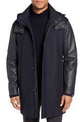 Pal Zileri Men's Montgomery Hooded Wool Blend Coat With Leather Sleeves