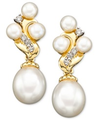 Macy's 14K Gold Earrings Cultured Freshwater Pearl And Diamond 1 6 Ct. T.W. Black