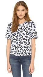 Sundry Leopard Short Sleeve Sweatshirt White