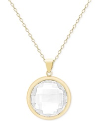 Victoria Townsend White Quartz Bezel Pendant Necklace 17 1 2 Ct. T.W. In 18K Gold Over Sterling Silver