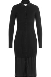 Dkny Layered Dress With Merino Wool Black
