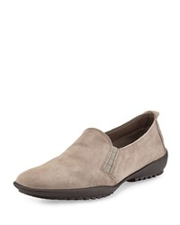 Sesto Meucci Angy Suede Slip On Loafer Taupe Brown