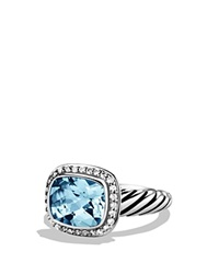 David Yurman Noblesse Ring With Blue Topaz And Diamonds Silver