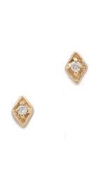 Blanca Monros Gomez Tiny Diamond Filigree Stud Earrings Gold White Diamond