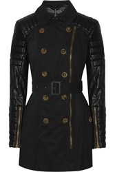 W118 By Walter Baker Keanu Cotton Twill And Faux Leather Coat Black