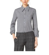 Michael Kors Striped Cotton Poplin Twist Cuff Shirt Black White