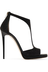 Jimmy Choo Lana Embellished Satin Sandals Black