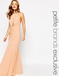 Jarlo Petite Keyhole Halter Maxi Dress With Ruched Detailing Beige