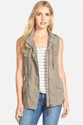 Gibson Linen Utility Vest With Knit Hood Beige