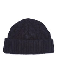 Oliver Spencer Cable Knit Beanie Navy