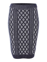 Dickins And Jones Chunky Cable Pencil Skirt Navy