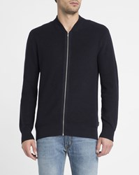 Ben Sherman Navy Zipped Cotton Cardigan Blue