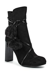 Lost Ink Alice Faux Fur Pom Pom Ankle Boots Black