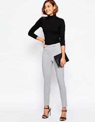 Asos High Waist Pants In Skinny Fit Silver