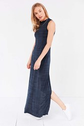 Silence And Noise Calvin Mock Neck Maxi Dress Blue Multi