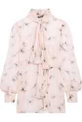 Alexander Mcqueen Pussy Bow Printed Silk Crepon Blouse Blush