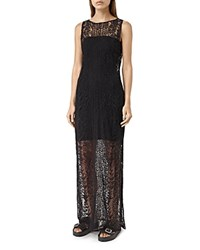 Allsaints All Saints Cariad Embroidered Mesh Maxi Dress Black