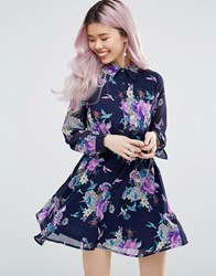 Yumi Long Sleeve Shirt Dress In Floral Print Navy