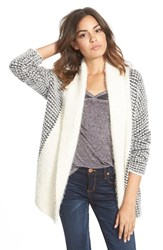 Junior Women's Billabong 'Sandy Highway' Fuzzy Open Front Cardigan