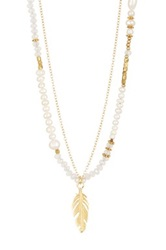 Nakamol Design Feather Pendant Crystal And Pearl Beaded Double Strand Necklace No Color