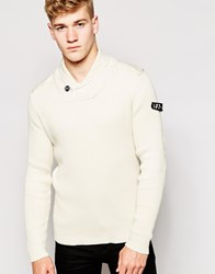 Firetrap Shawl Collar Rib Sweater Beige