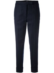 Thom Browne Pinstriped Cropped Tapered Trousers Blue
