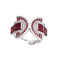On Aura Tout Vu Ring Art Deco Moulin Rouge Red