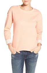 Women's Caslon High Low Sweatshirt Heather Coral Apple
