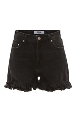 Msgm High Rise Ruffle Shorts Black
