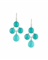 Elizabeth Showers Audrey Turquoise Chandelier Earrings Silver