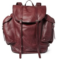 Dries Van Noten Leather Backpack Burgundy