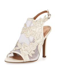 Kay Unger Justife Floral Leather Mesh Sandal White