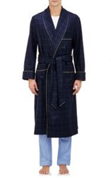 Barneys New York Windowpane Checked Robe Blue
