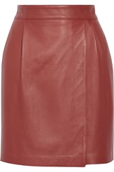 Adam By Adam Lippes Wrap Effect Leather Mini Skirt Red