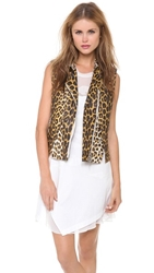 3.1 Phillip Lim Leather Leopard Biker Vest Natural White