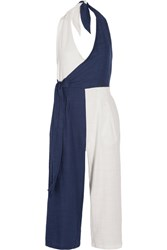Solid And Striped The Camille Color Block Cotton Blend Voile Halterneck Jumpsuit Navy