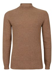 Topman Selected Homme Brown Ribbed Turtle Neck Sweater