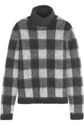 Balenciaga Checked Brushed Knitted Turtleneck Sweater Gray