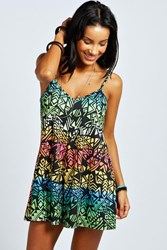 Boohoo Rainbow Print Strappy Swing Playsuit Multi
